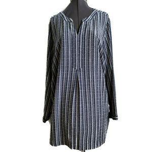 CJ Banks shirt top 2x 2XL blue gray white plaid